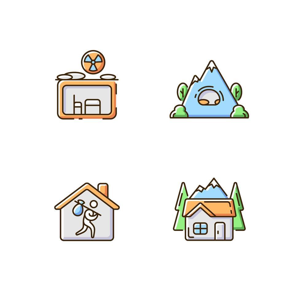 Conjunto de ícones de cores rgb de habitação transitória vetor