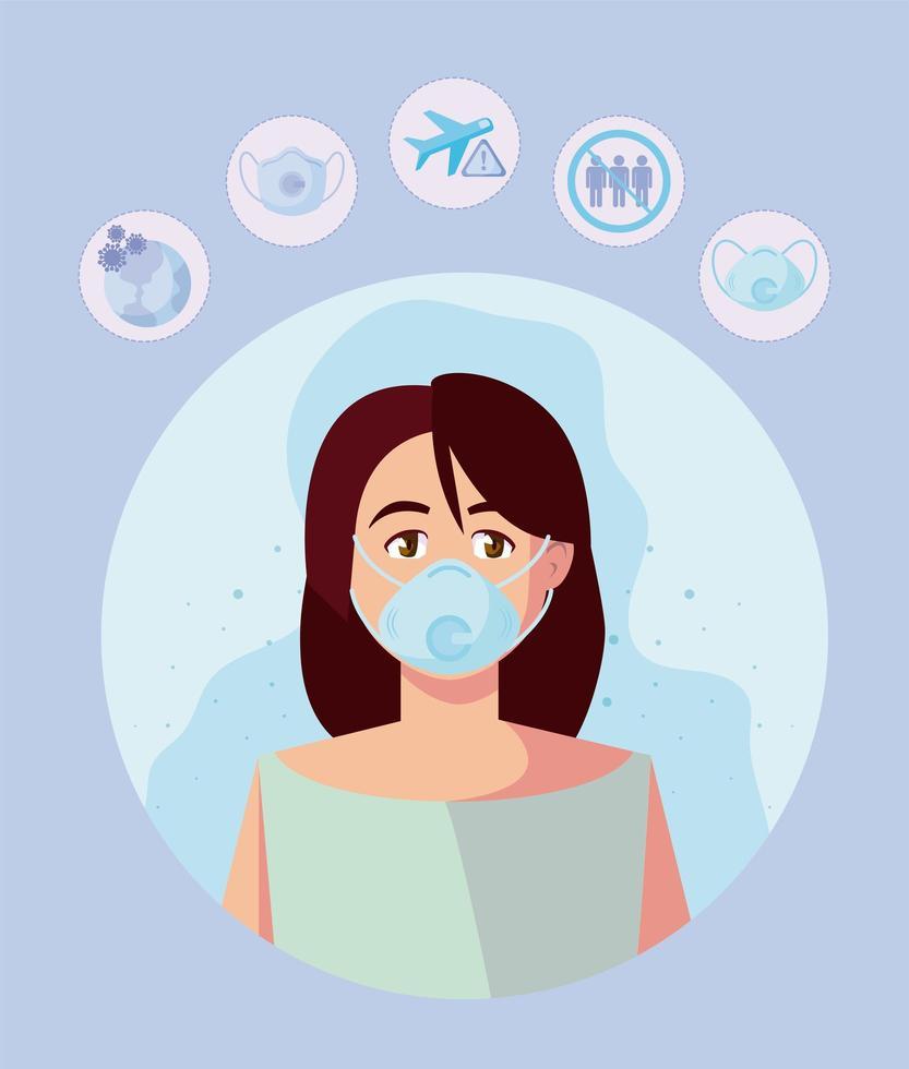 mulher com máscara médica e covid19 icon set vector design