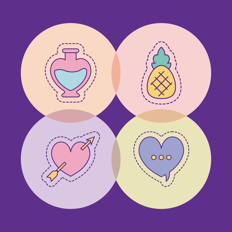 coração de abacaxi frasco e desenho de vetor de bolha