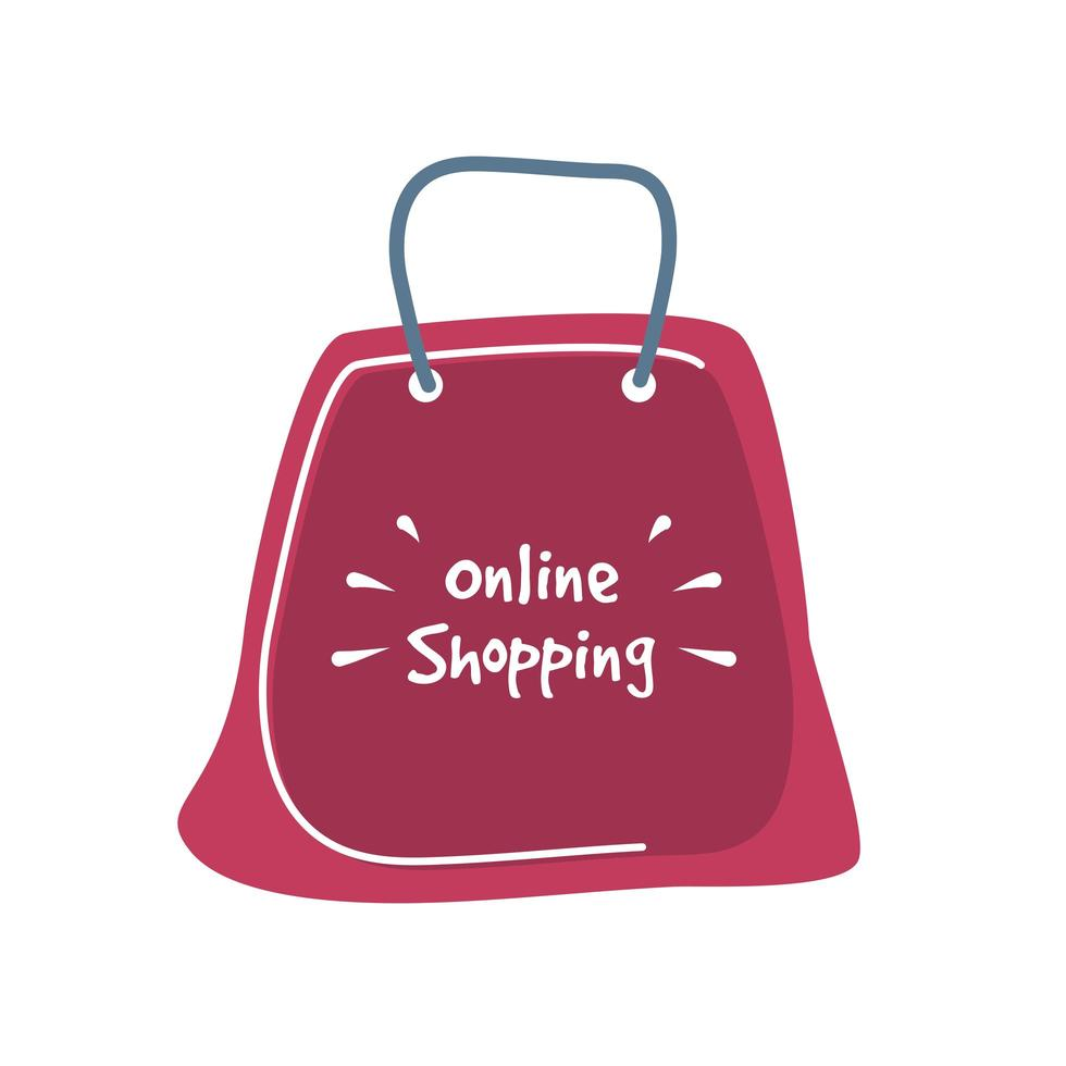 letras de compras online em uma sacola de compras vermelha vetor