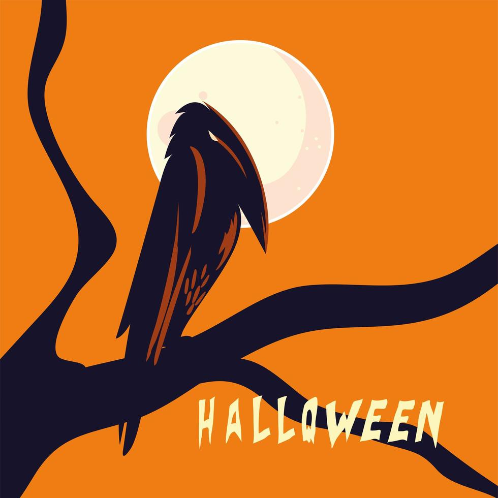 desenho de corvo de halloween em desenho vetorial de árvore vetor