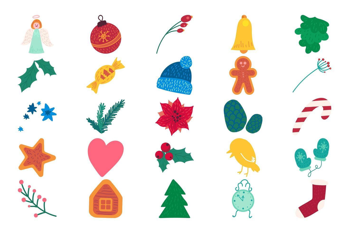 conjunto de ilustrações vetoriais planas de itens do calendário do advento do Natal vetor