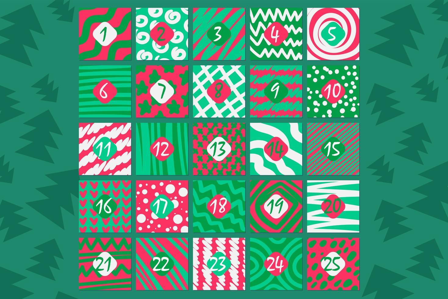 ilustração em vetor plana calendário festivo do advento dezembro