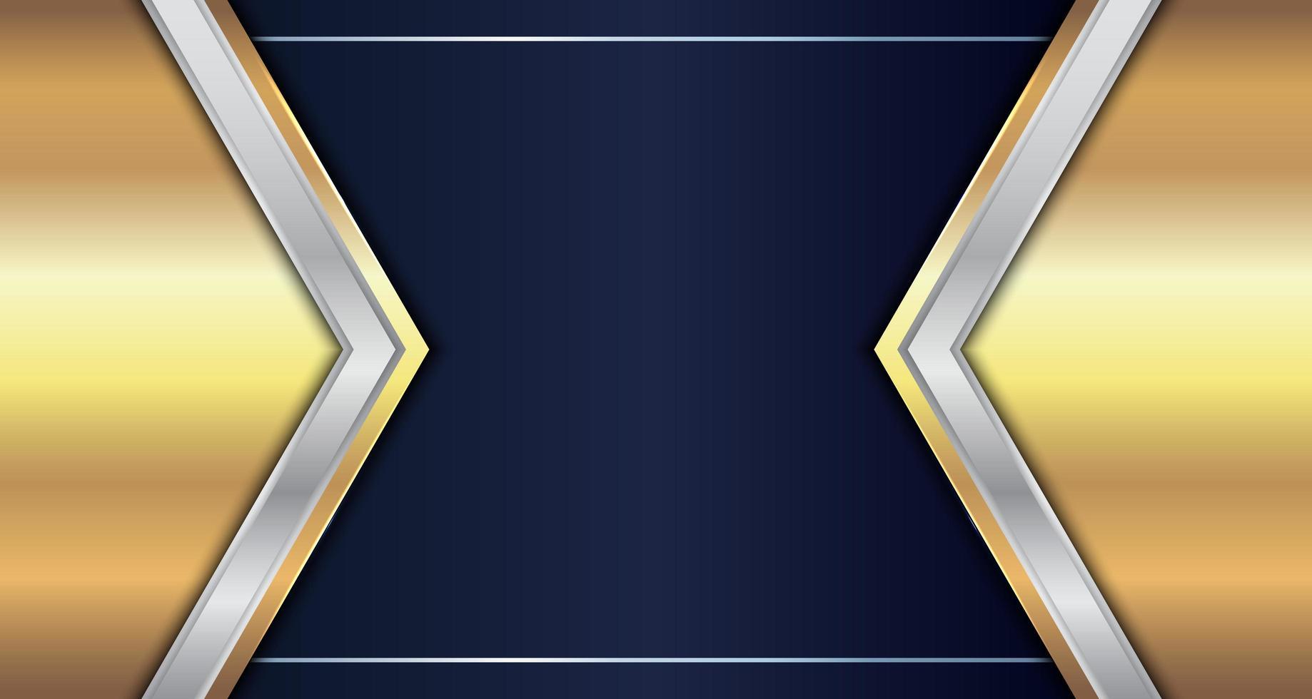 cabeçalho abstrato triângulo geométrico metálico de ouro e prata vetor