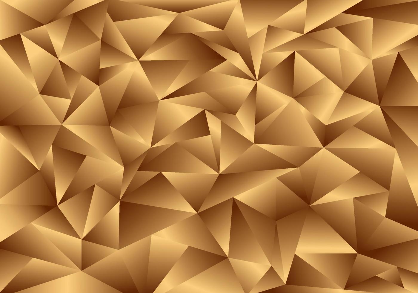Fundo e textura dourados do polígono 3D. padrão de baixo poli ouro. vetor