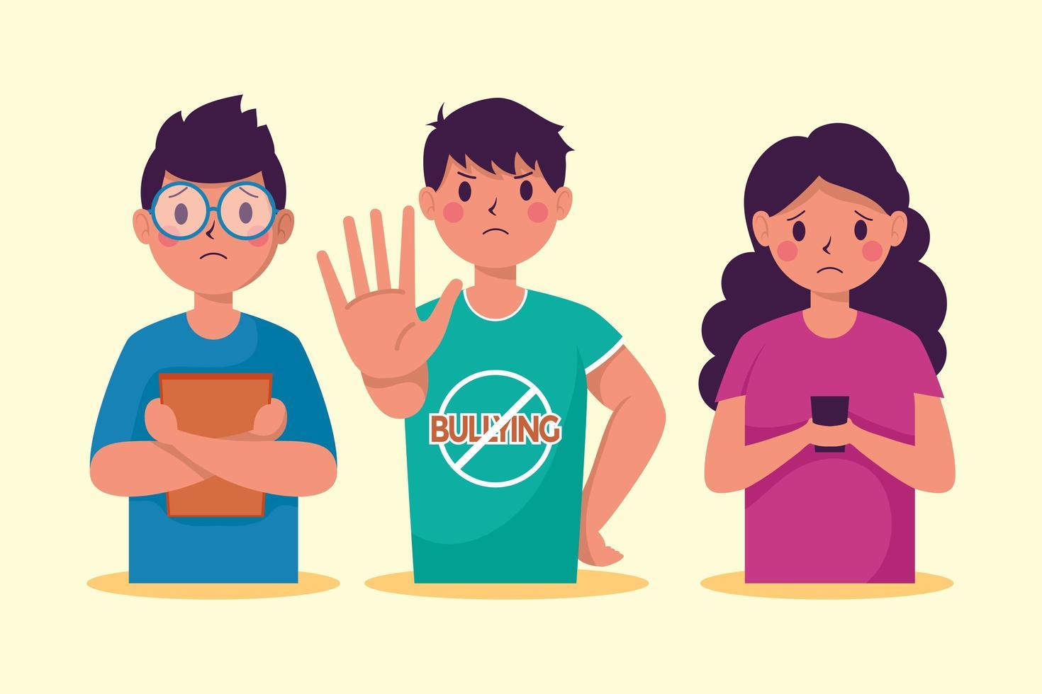 pare de campanha de bullying com jovens vítimas vetor