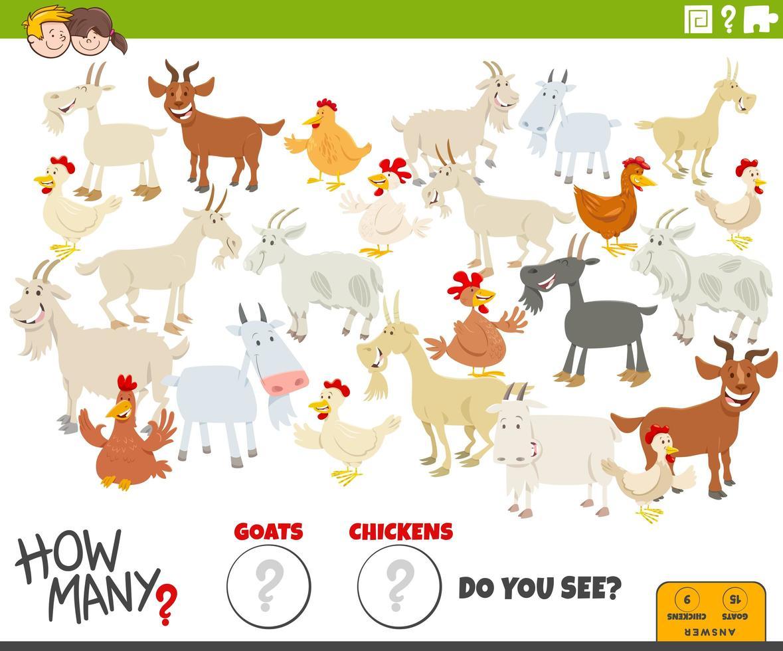 quantas cabras e galinhas tarefa educacional para crianças vetor