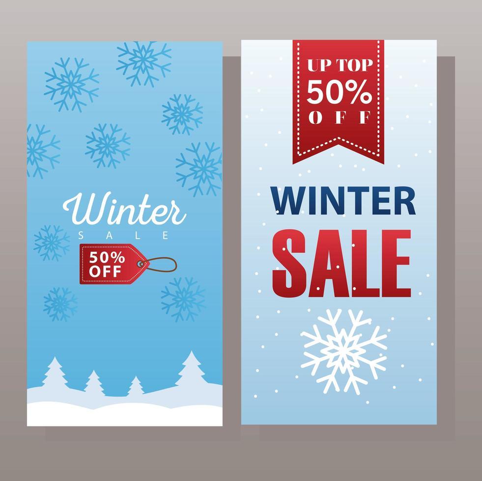 grande cartaz de venda de inverno com etiqueta pendurada e fita vetor
