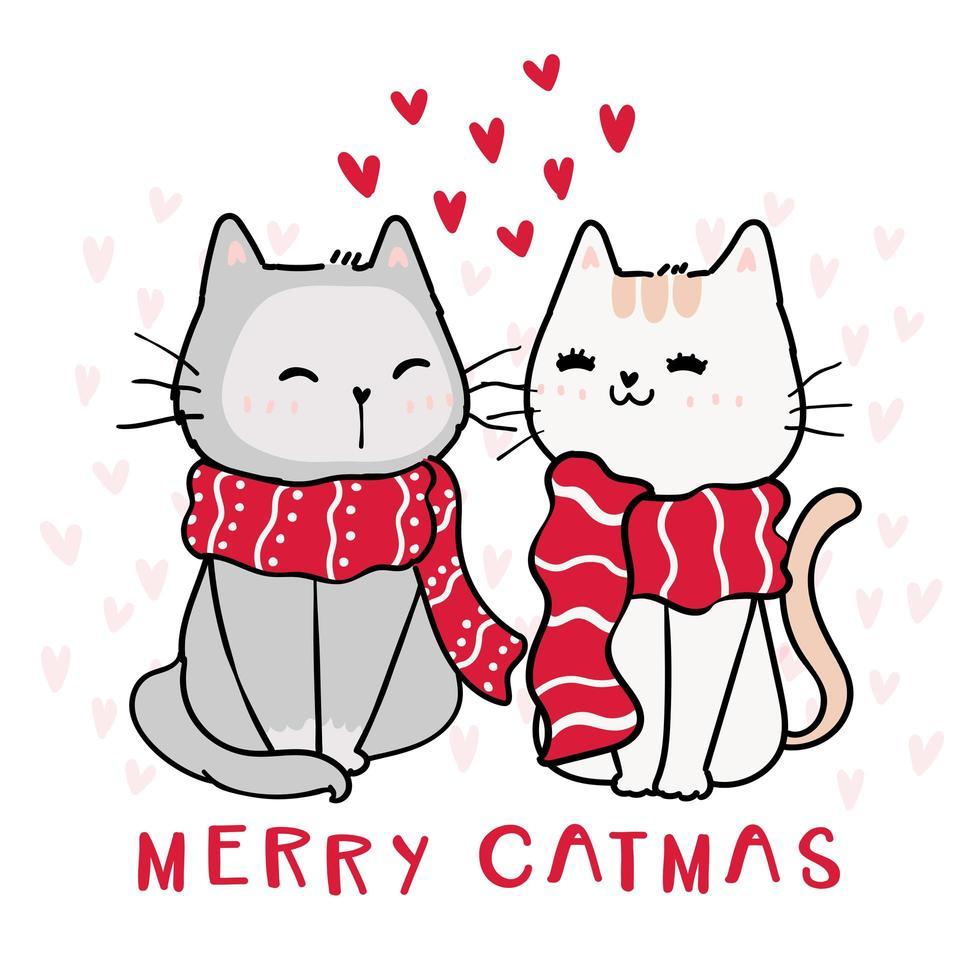 gatos fofos e felizes com lenços vermelhos de inverno vetor