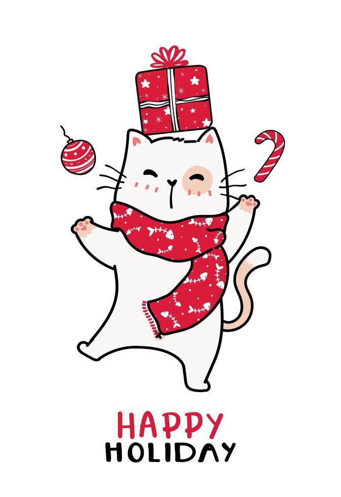 gato fofo em um lenço vermelho de malha de Natal e caixa de presente vetor