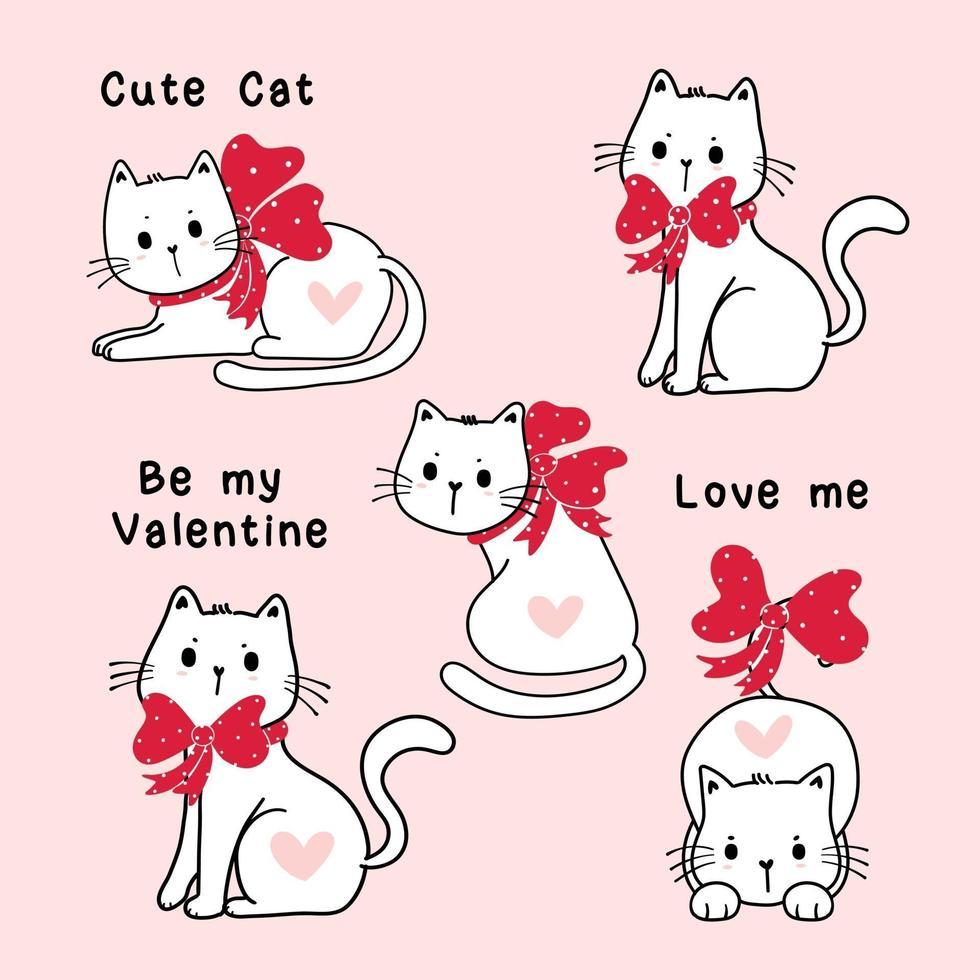conjunto de gatos brancos fofos dos namorados com fitas vermelhas vetor