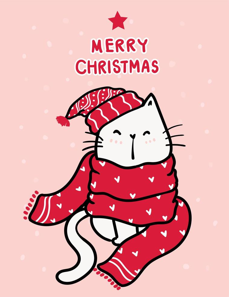 gatinho branco feliz em um lenço de malha vermelho com letras de feliz natal vetor