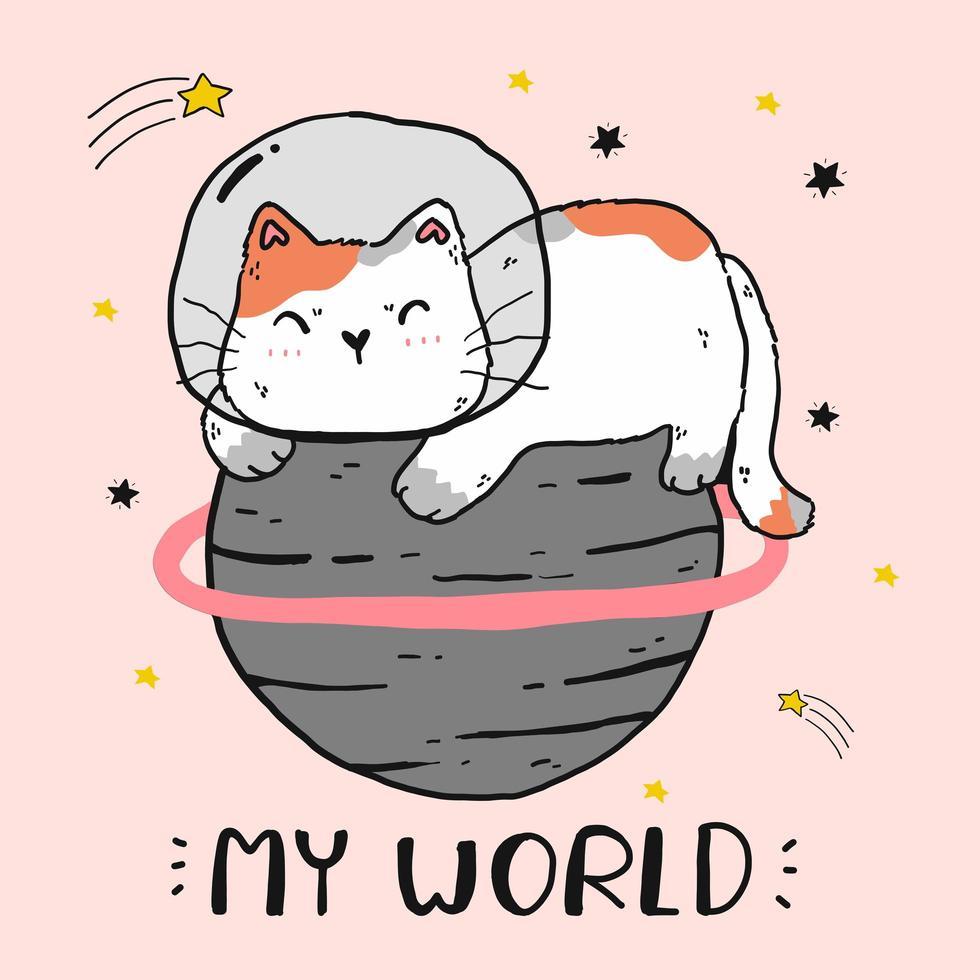 gato astronauta fofo sentado em um planeta vetor