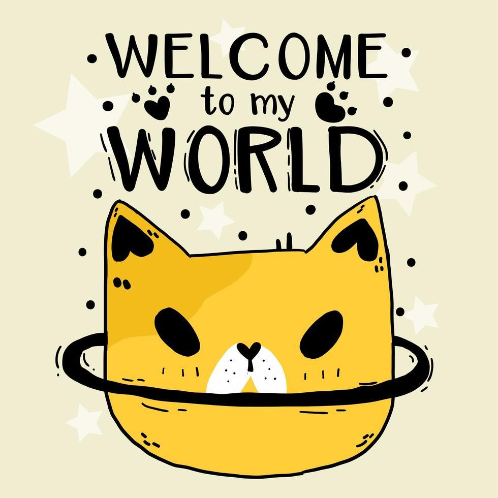 doodle fofo cabeça de gato com letras vetor