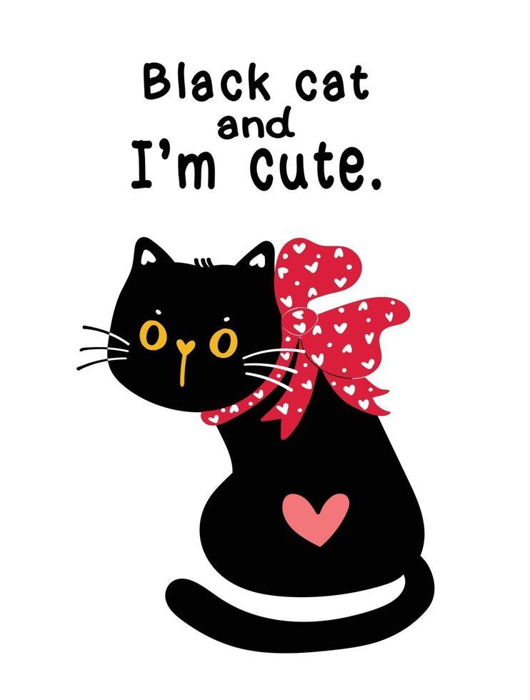 gato preto fofo com laço de fita vermelha vetor