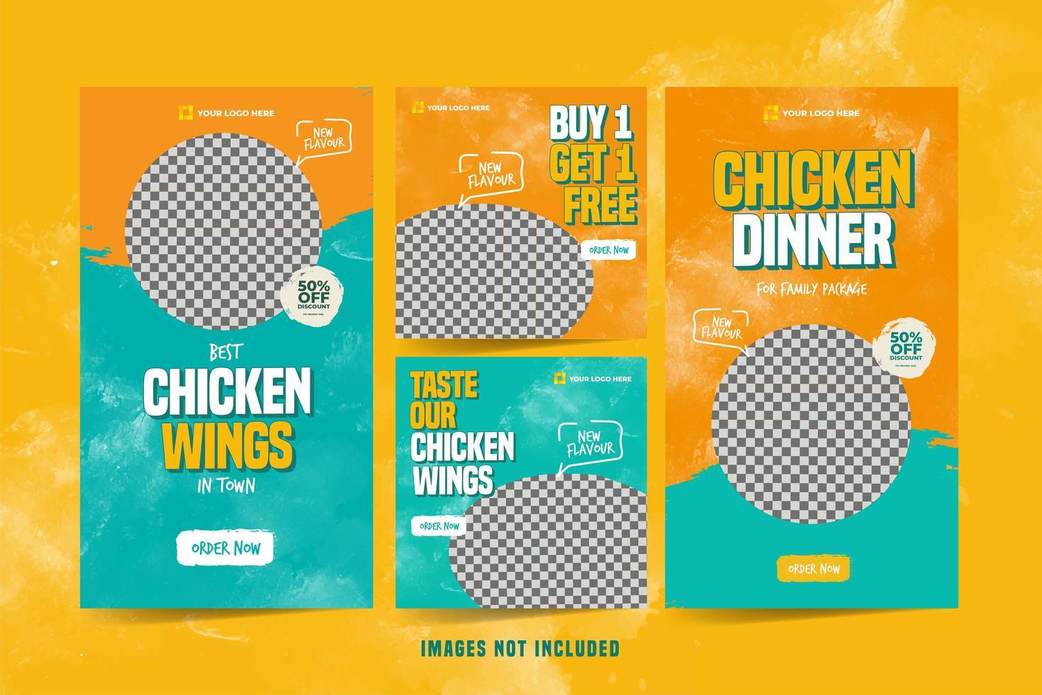 conjunto de modelo de anúncio de asas de frango para mídia social vetor