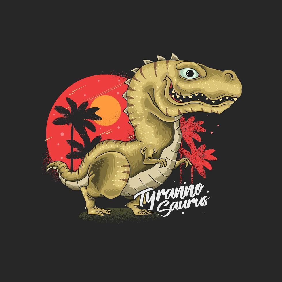 gráfico vetorial de ilustração de tiranossauro fofo vetor
