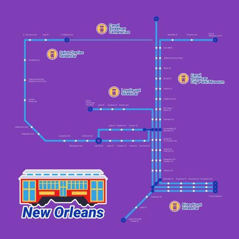 Vetores de bonde destacados de Nova Orleans