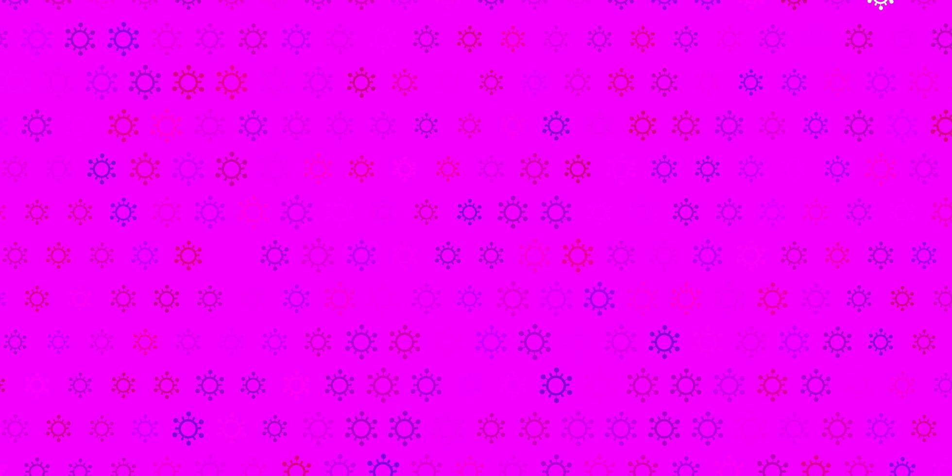 padrão de vetor rosa escuro com elementos de coronavírus.