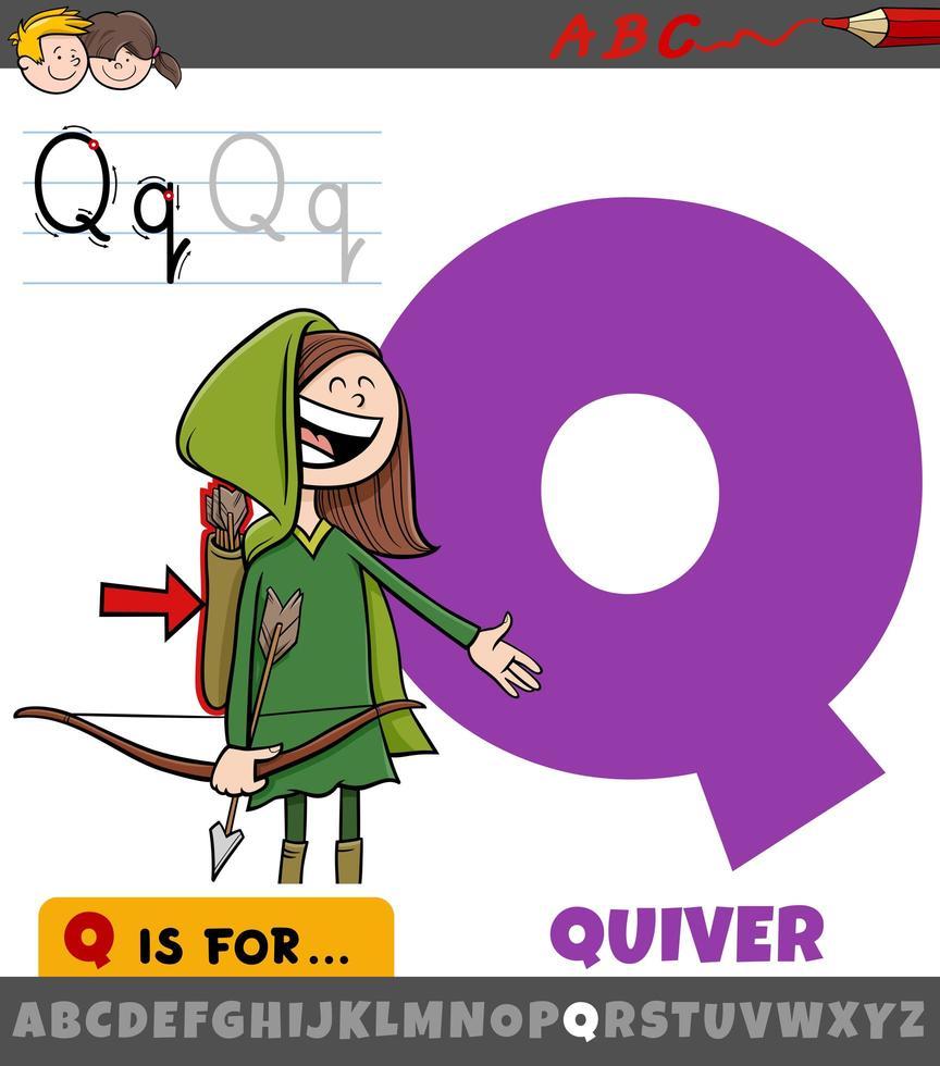 planilha letra q com objeto cartoon aljava vetor
