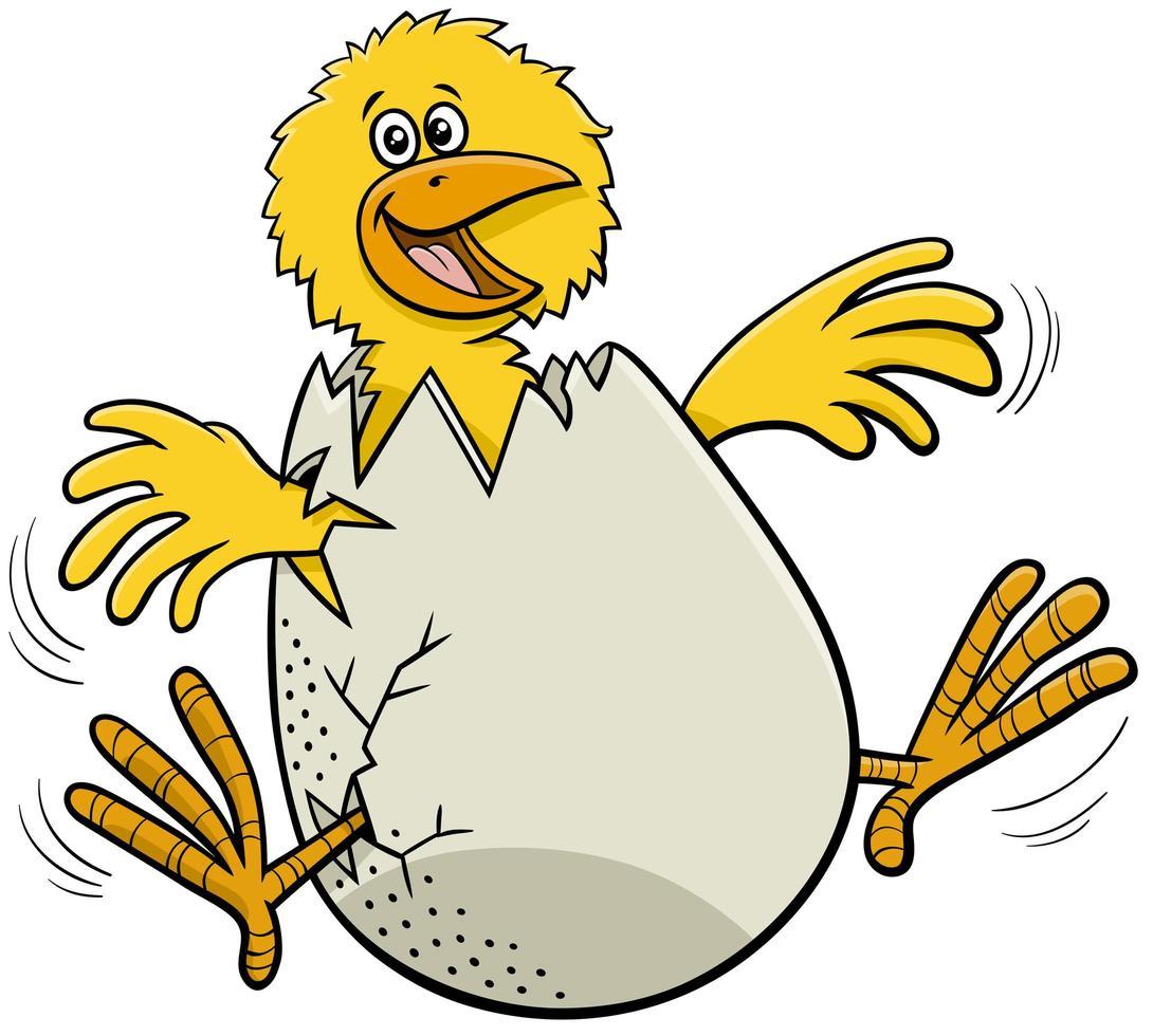 desenho animado pintinho saindo de ovo vetor