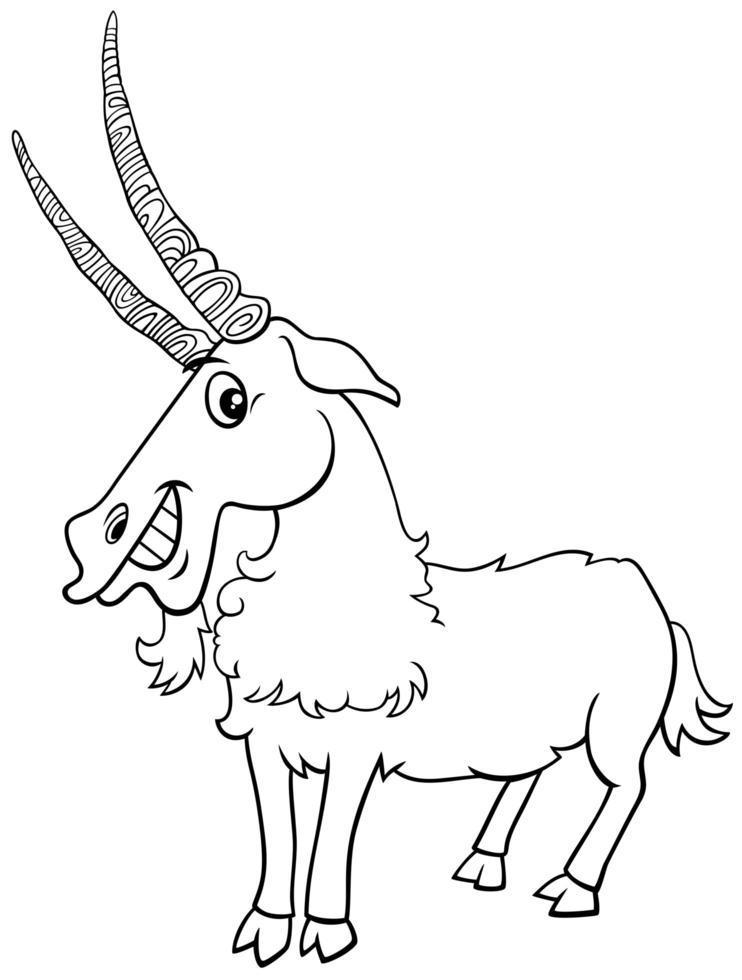 página do livro para colorir de personagens de animais de fazenda de cabras vetor