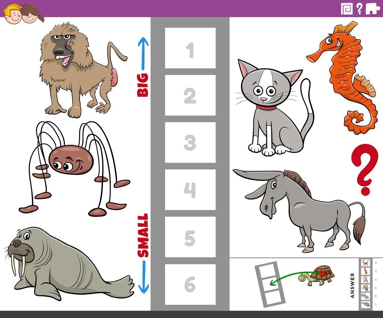 jogo educativo com animais grandes e pequenos para crianças vetor