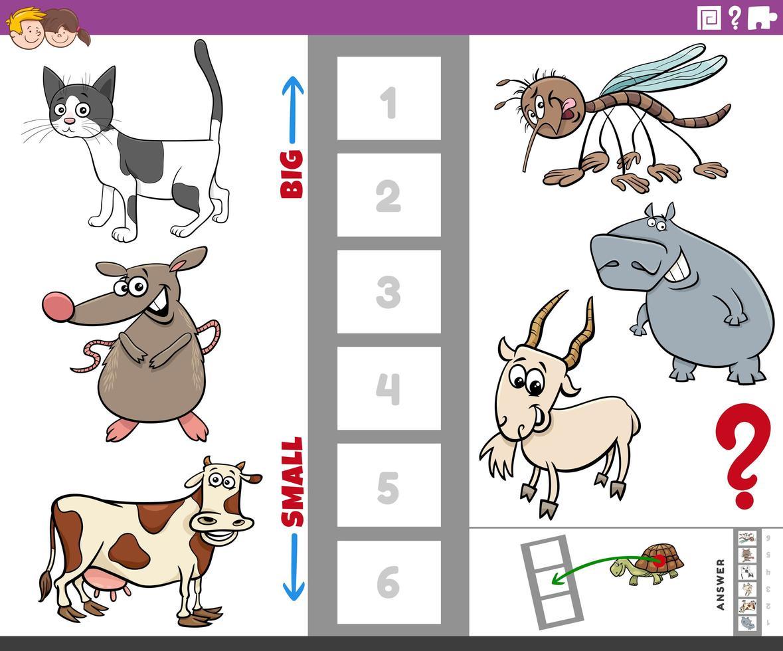 tarefa educacional com animais grandes e pequenos para crianças vetor
