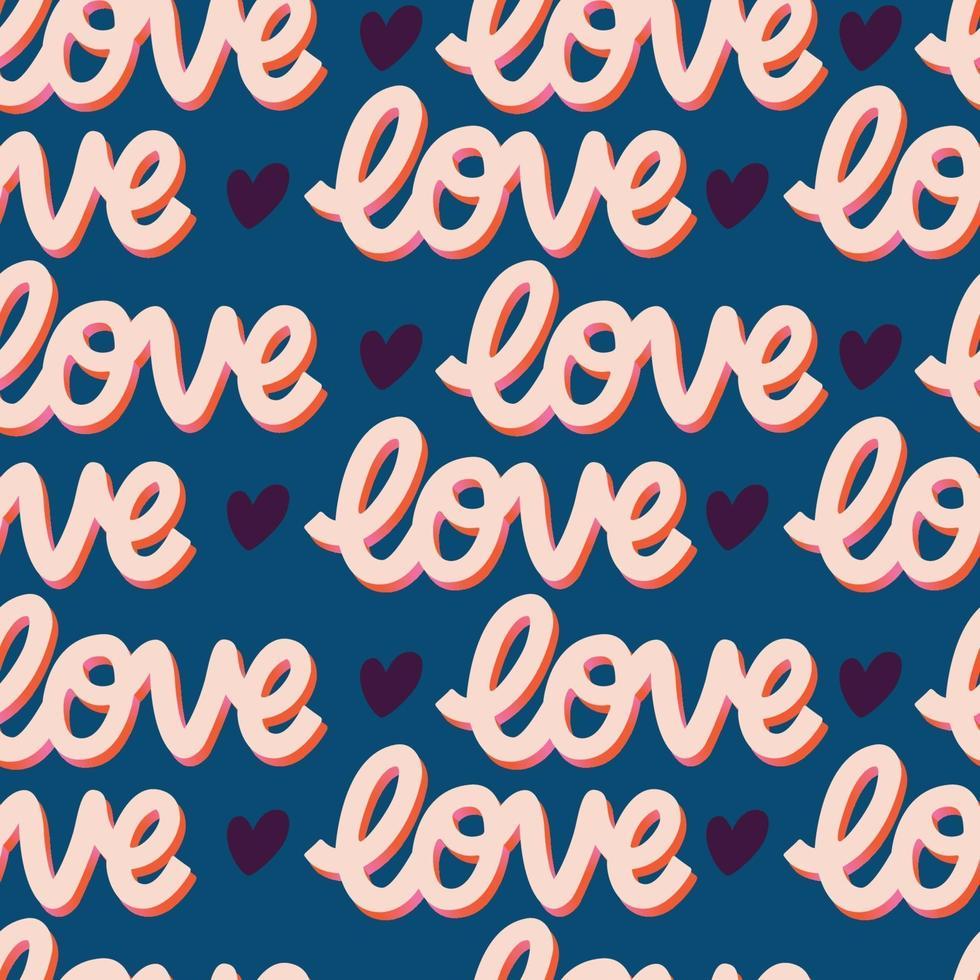 padrão sem emenda com mão com letras mensagem de amor para feliz dia dos namorados. ilustração plana colorida. vetor
