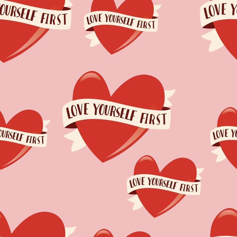 padrão sem emenda com o símbolo do coração e fita para o dia dos namorados feliz. ilustração plana colorida. ame-se primeiro. vetor