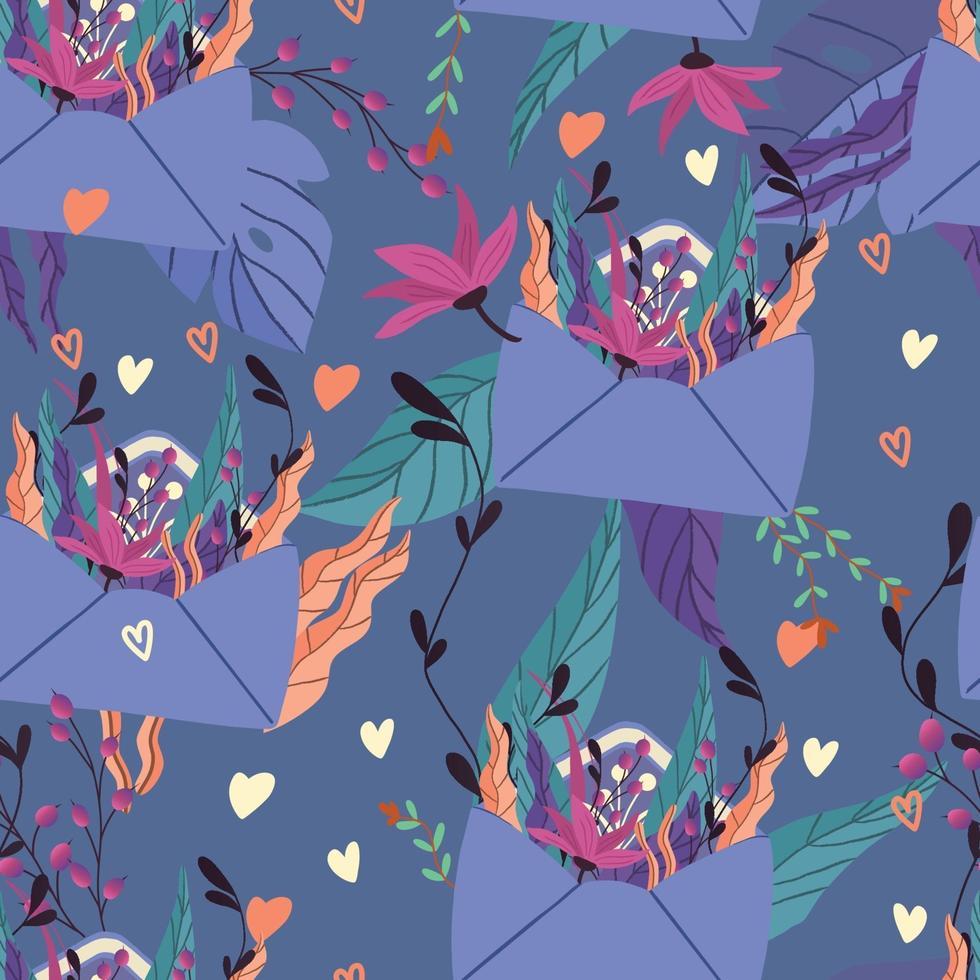 padrão sem emenda com grande coleção de cartas de amor e símbolos para feliz dia dos namorados. ilustração plana colorida. vetor