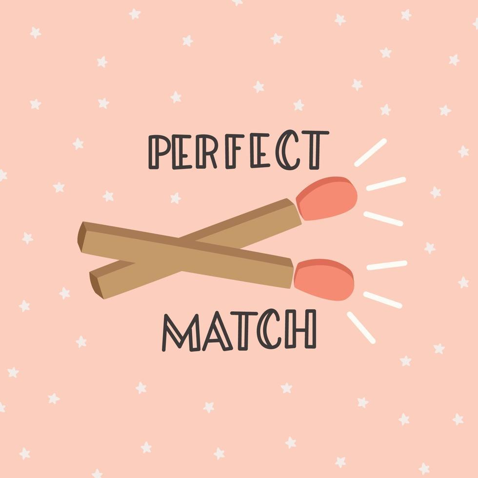 cartão de feliz dia dos namorados com fósforos e mensagem tipográfica. ilustração plana colorida. vetor
