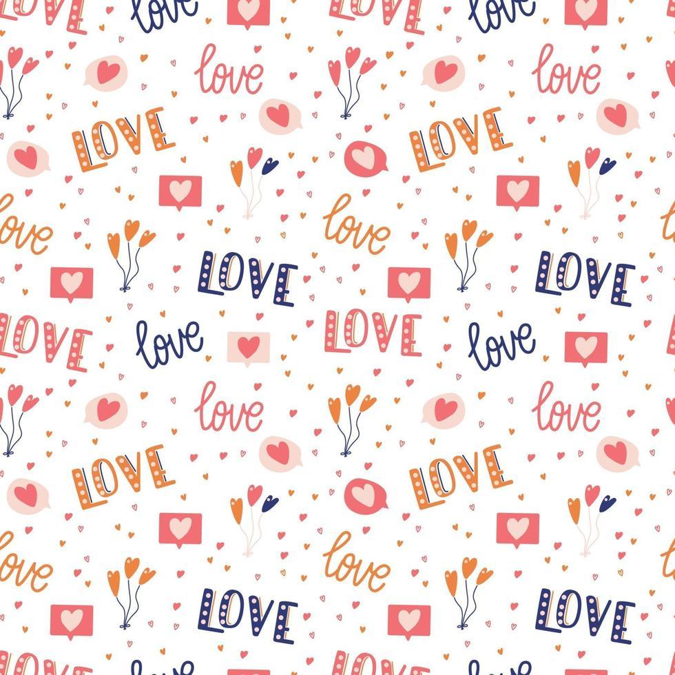 padrão sem emenda com grande coleção de objetos de amor e símbolos para feliz dia dos namorados. ilustração plana colorida. vetor