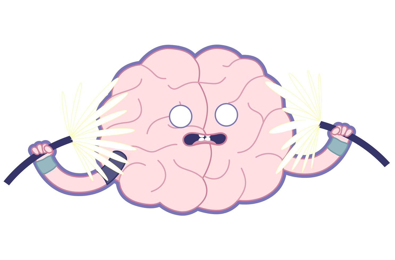 ilustração plana do cérebro chocado, treine seu cérebro. vetor
