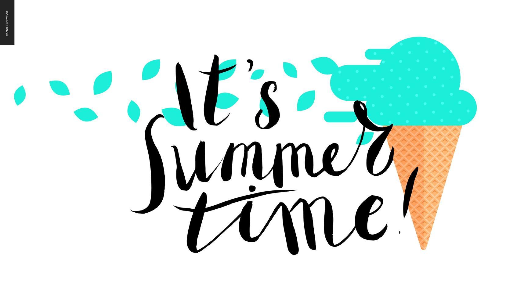 é verão, letras e sorvete de menta vetor