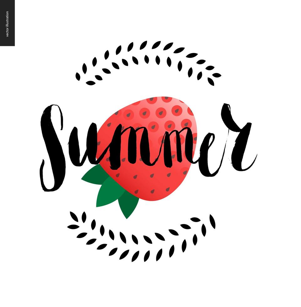 letras de verão e morango vetor