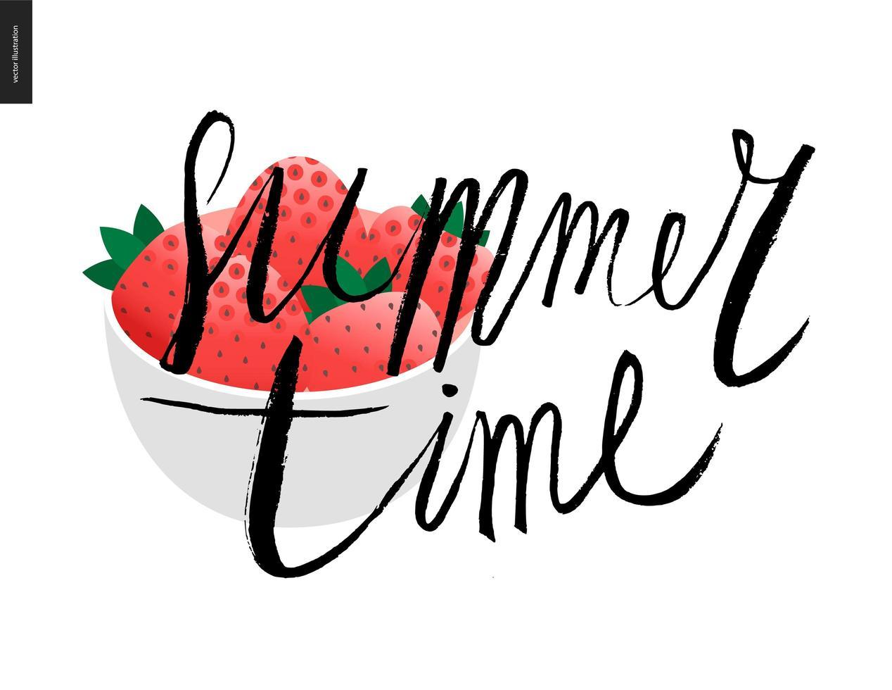 letras de horário de verão e uma tigela de morango vetor
