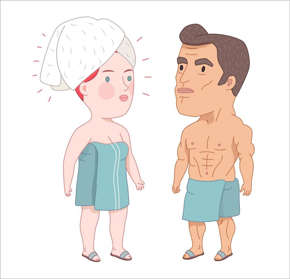 após o banho, um homem e uma mulher ruiva enrolados nas toalhas vetor