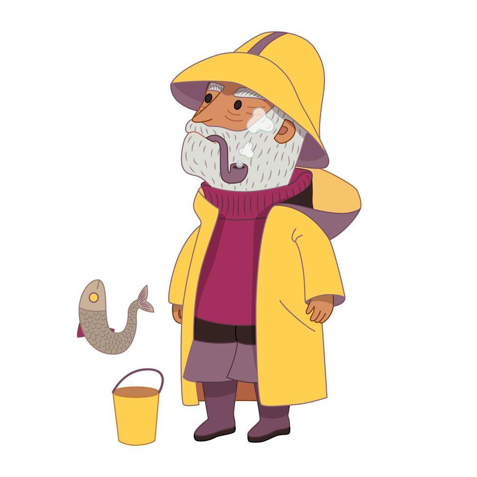 pescador, um homem idoso de cabelos grisalhos usando um chapéu de pescador vintage vetor