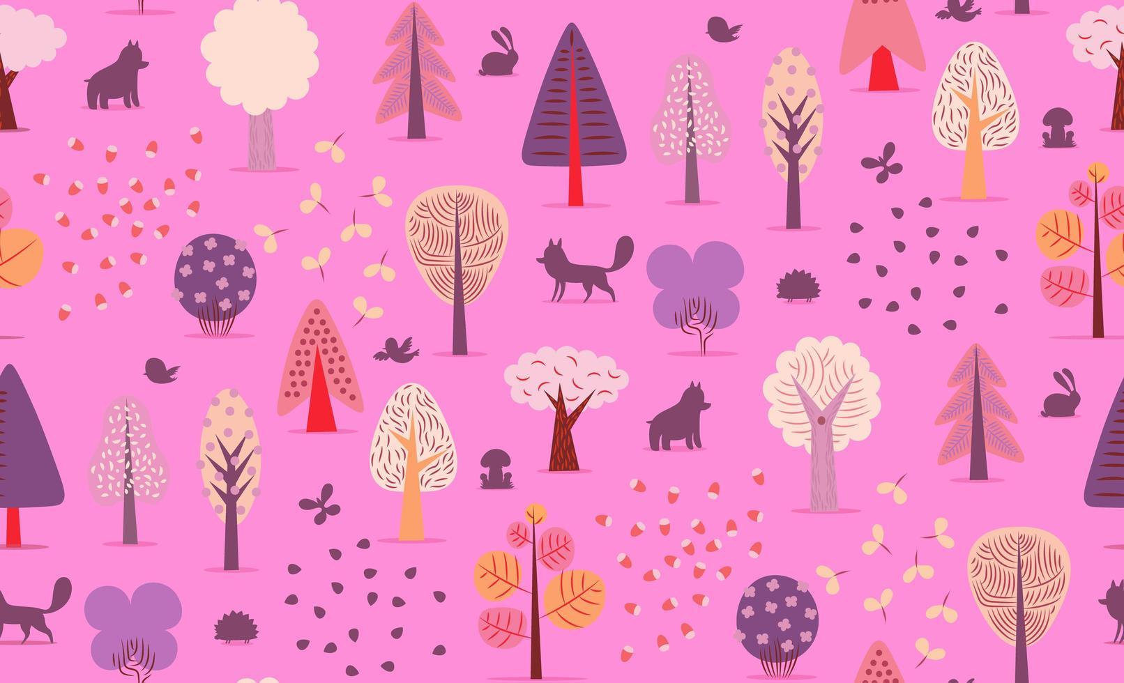 padrão sem emenda de árvores da floresta. vetor