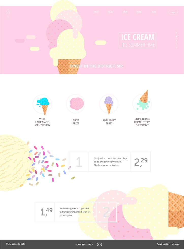 modelo de site de sorvete rosa vetor