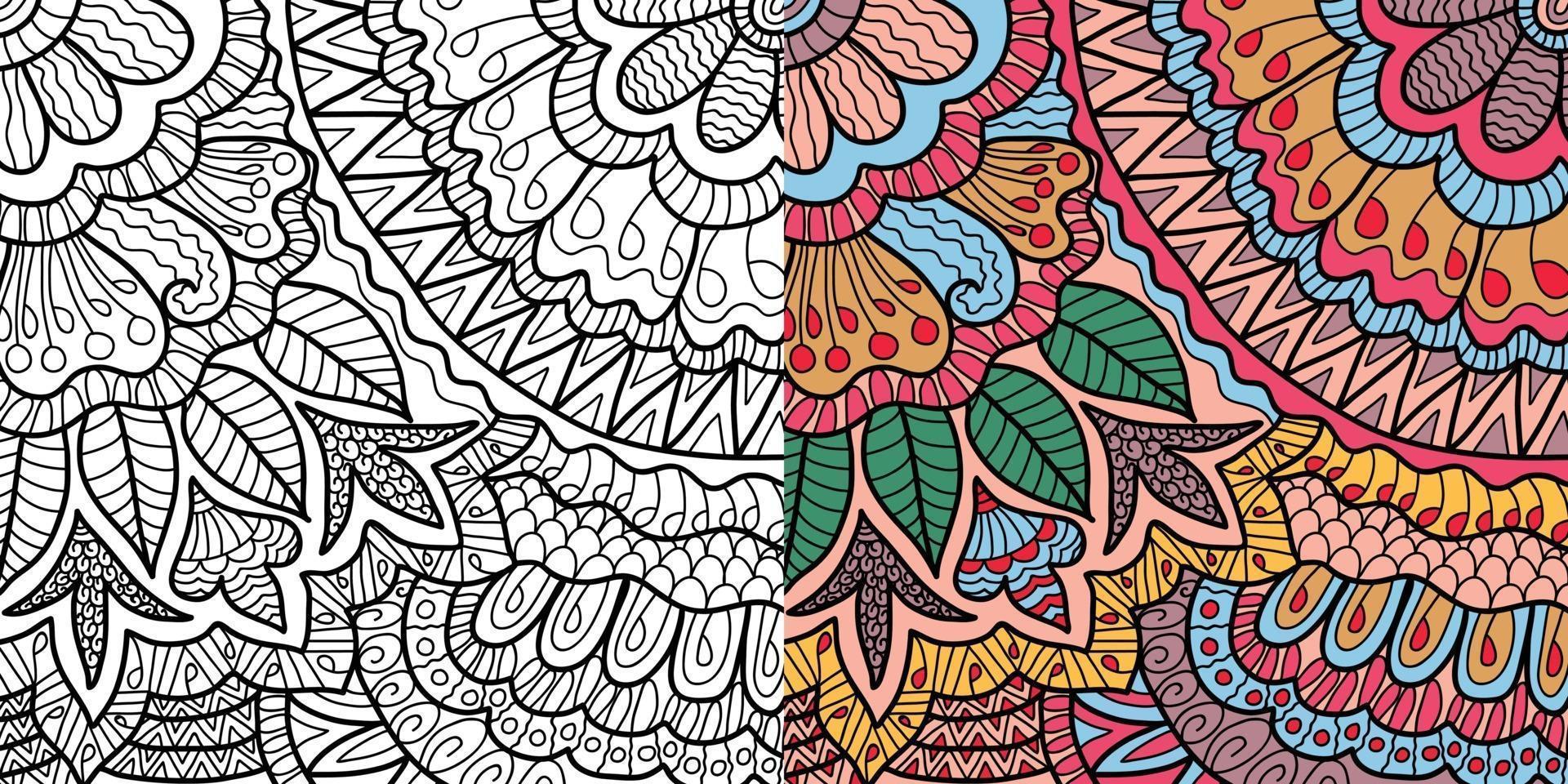 doodle floral decorativo de henna style página de livro para colorir para adultos e crianças. vetor