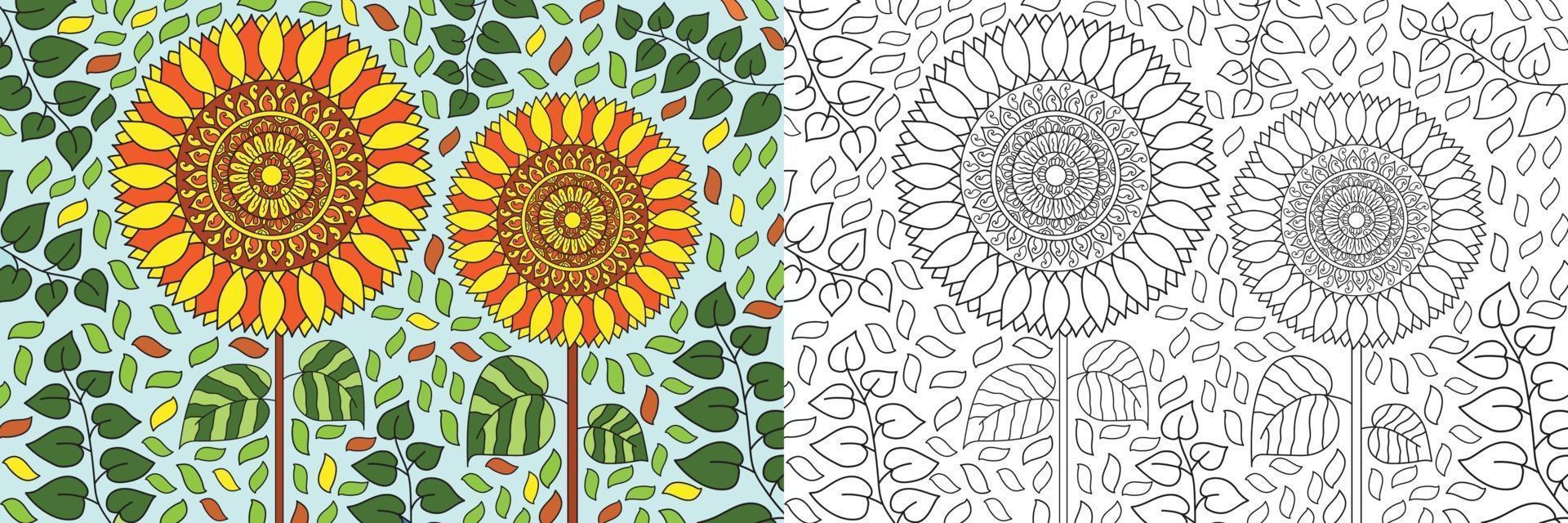 doodle girassol na natureza natureza livro para colorir para adultos e crianças vetor