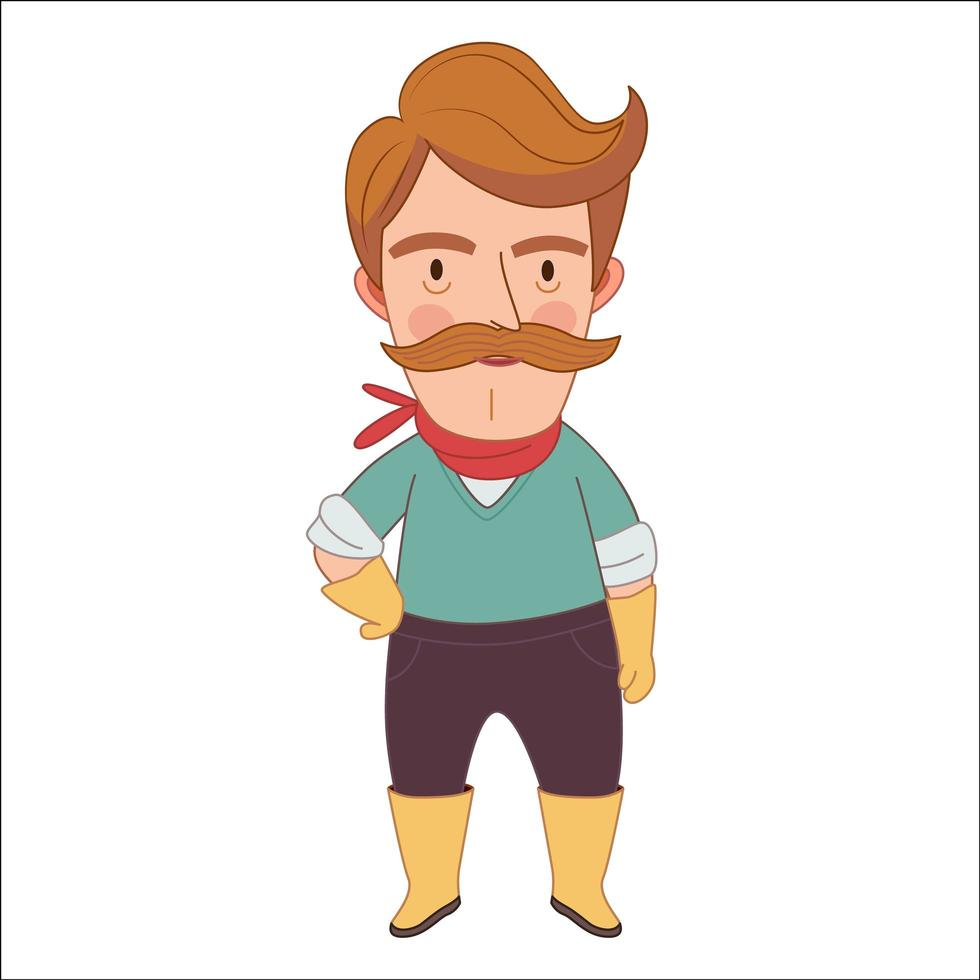 jardineiro, um homem de meia-idade usando bigode, luvas, lenço de pescoço e botas de borracha vetor
