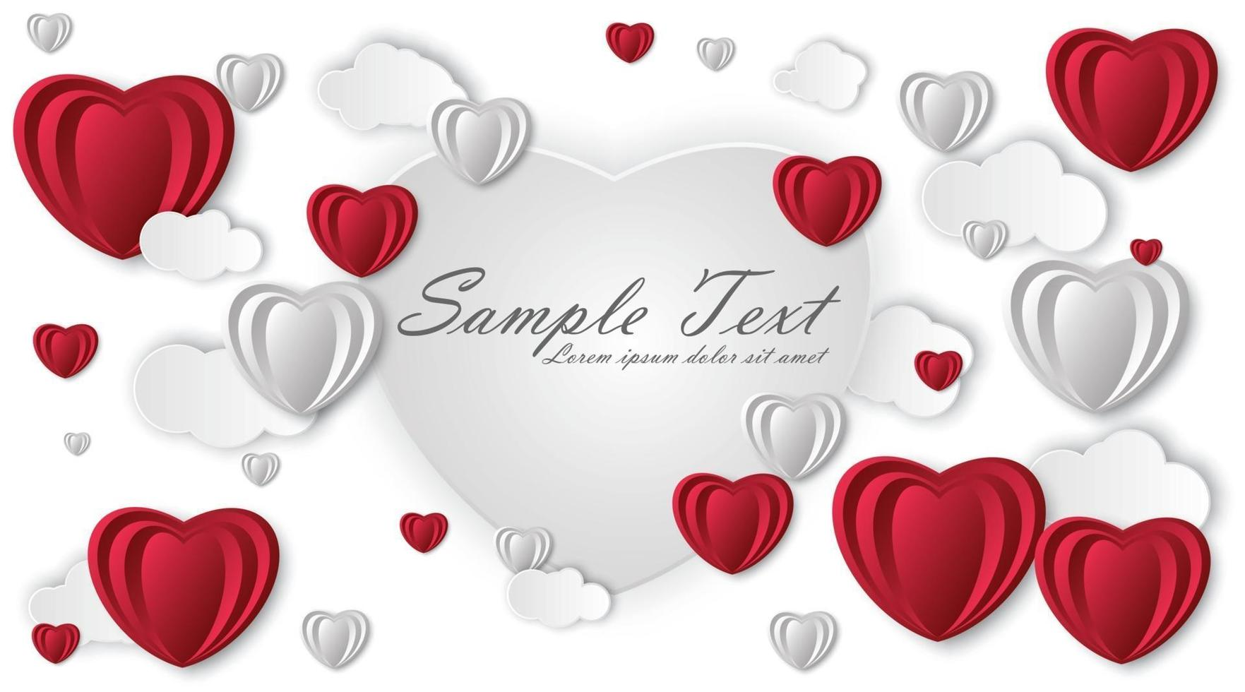 cenário de feliz dia dos namorados. arte em papel, amor e casamento. coração de papel vermelho e branco. ilustração de desenho vetorial vetor