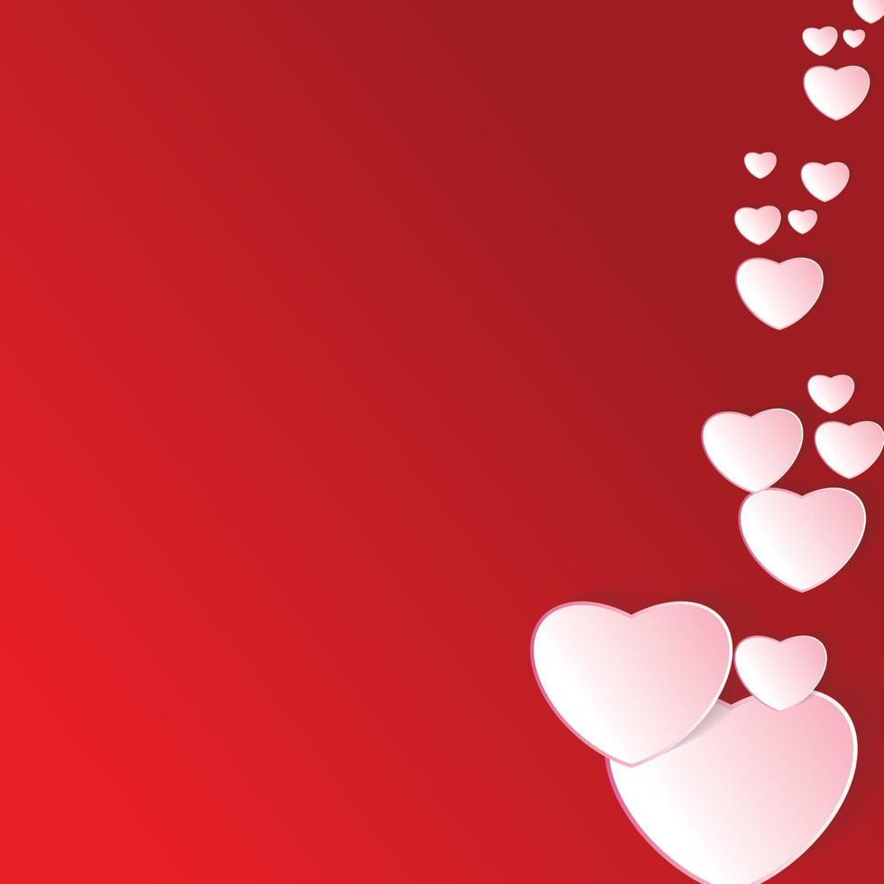 papel de vetor de dia dos namorados com fundo vermelho. desenho de coração e ilustração vetorial de nuvem