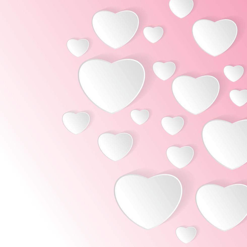 papel de vetor de dia dos namorados com fundo rosa. desenho de coração e ilustração vetorial de nuvem