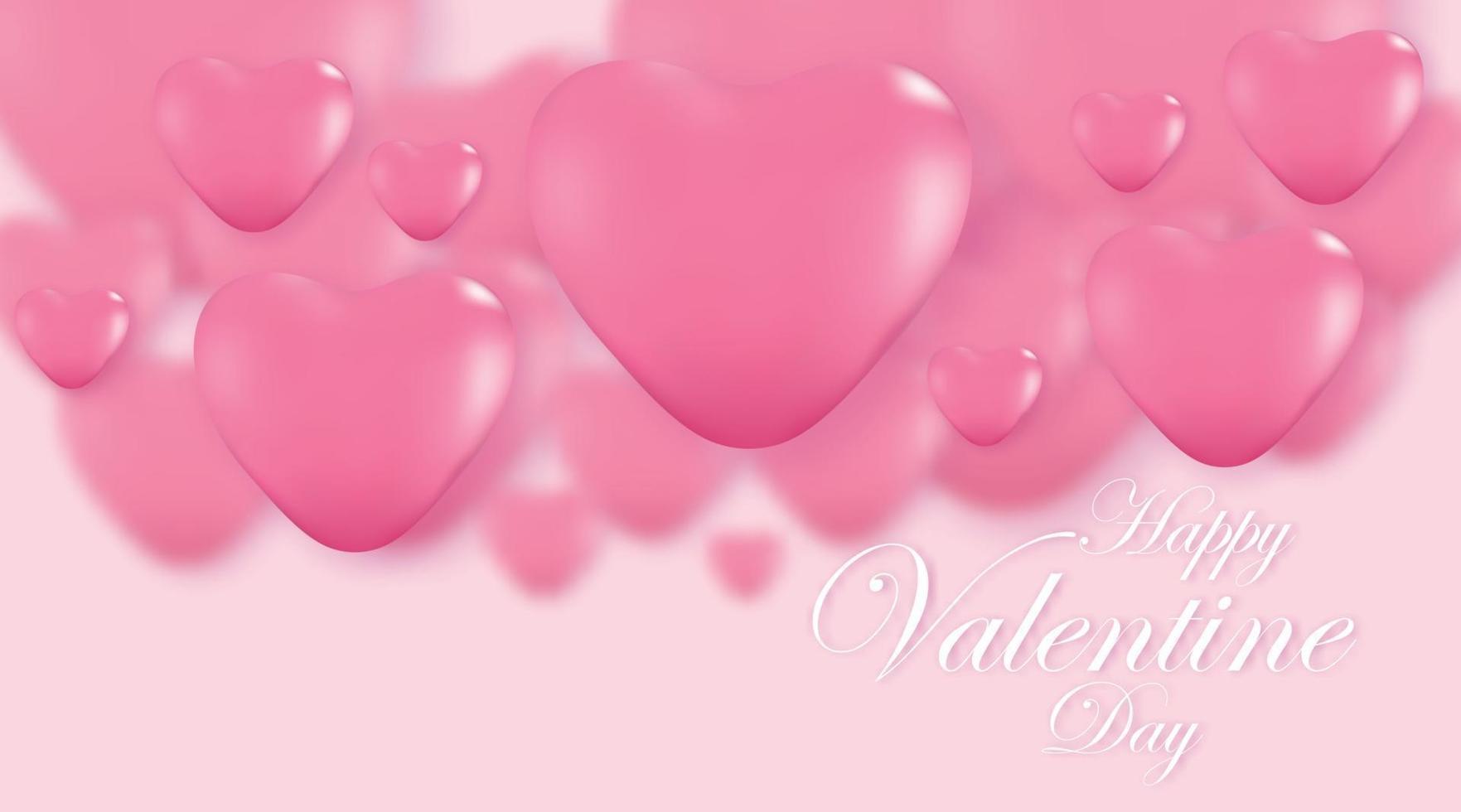 fundo rosa do dia dos namorados, corações 3d em pano de fundo brilhante. ilustração vetorial. vetor