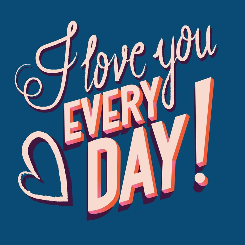 cartão com feliz dia dos namorados mão lettering design. ilustração colorida de mão desenhada com tipografia. vetor