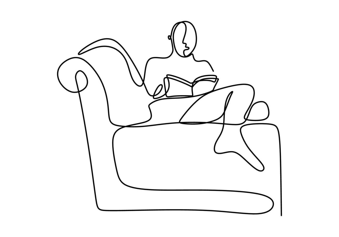 um desenho de linha contínua de homem jovem adolescente feliz descansar deitado no sofá-sofá enquanto lê o livro. aproveitando o tempo conceito desenho de sinal de linha única vetor